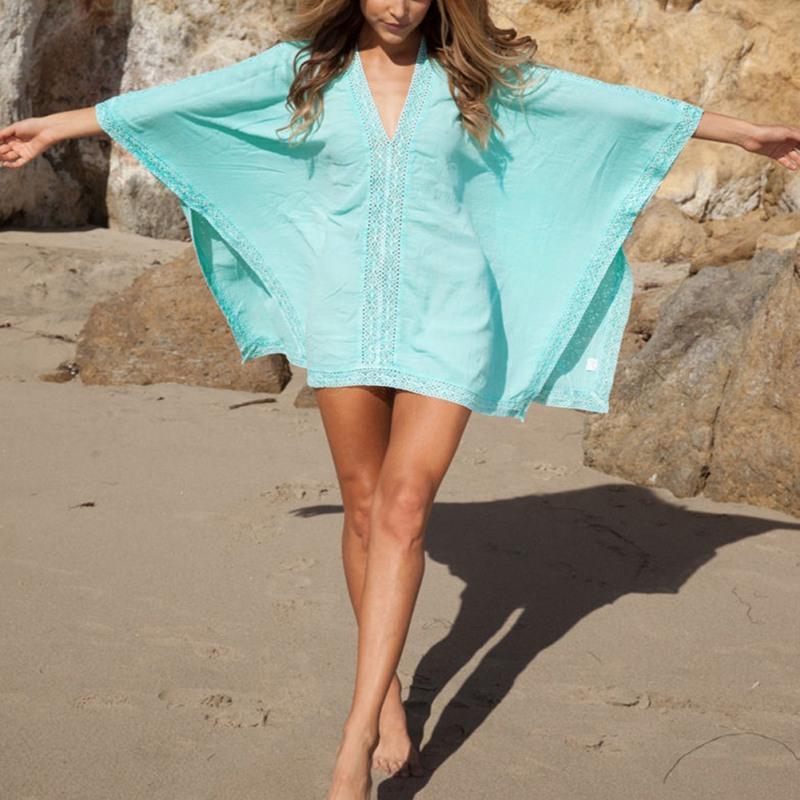 Женщины сексуальный пляж платье купальный костюм бикини крышка вверх кружево кафтан платье рубашка топы