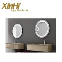 New design PVC bathroom cabinet with glass washbasin and LED mirror