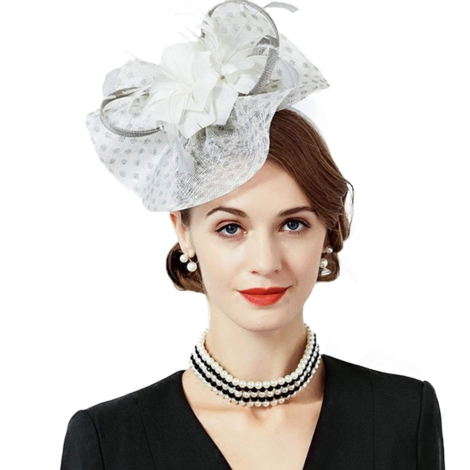 036dd7b6 Get Quotations · Womens Fascinators Sinamay White Wedding Derby Hats  Feather Pillbox Caps