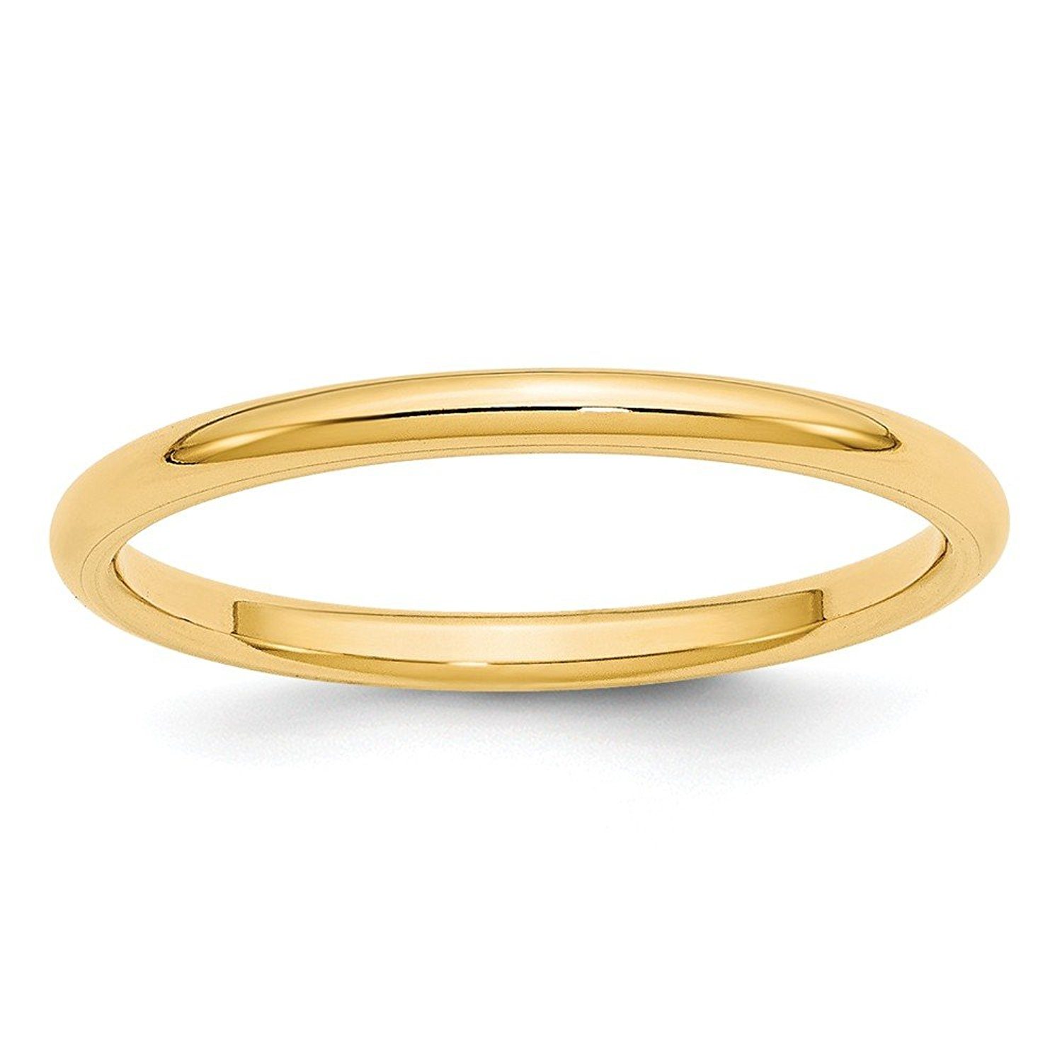 Perfect Jewelry Gift 14KY 2mm Standard Comfort Fit Band Size 10
