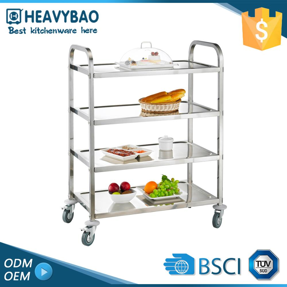 Heavybao Stainless Steel Knocked-down Kitchen Used Outdoor Trolley Food Cart For Sale