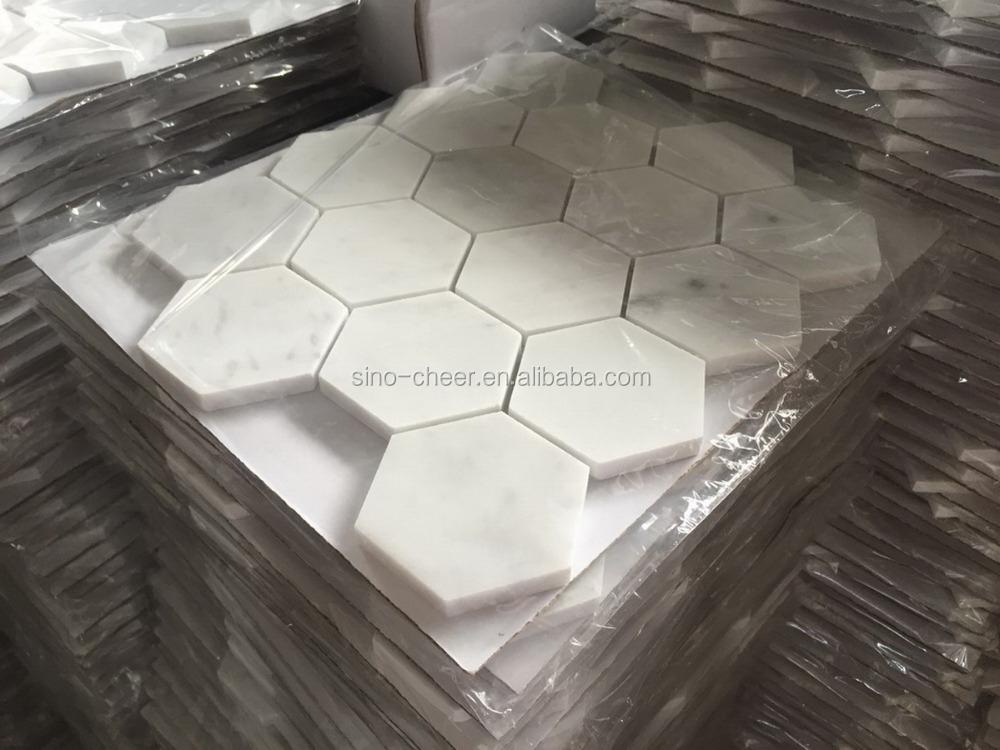 sample Bianco Thassos Poli Hexagone Pierre Naturelle DECOR MARBRE mosaïque