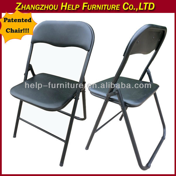 Patented vinyl padded folding chair in black color