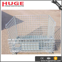 steel galvanized foldable stackable metal storage recycle cage pallet