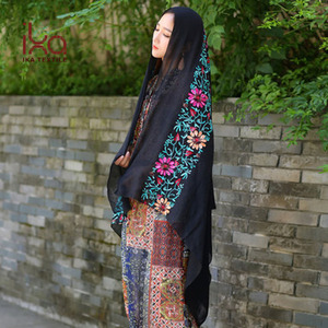 Women's Summer Black Colorful Floral Embroidery Polyester Shawl Wholesale From Malaysia