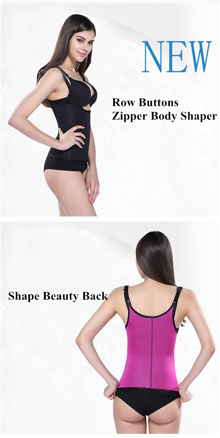 European Sexy Neoprene Body Shaper Push Up Waist Belt Rows Buttons Zipper Adjustable Strap Plus Size
