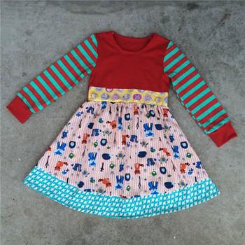 Custom Girls Valentines Day Clothes Chevron Long Sleeve Dress Baby