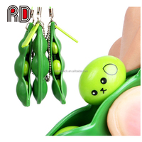 Hot Stress Relief Squeezed Bean Vent Toy Soybean Keychain Phone Bag Stress Relieve Fidget Funny Toy