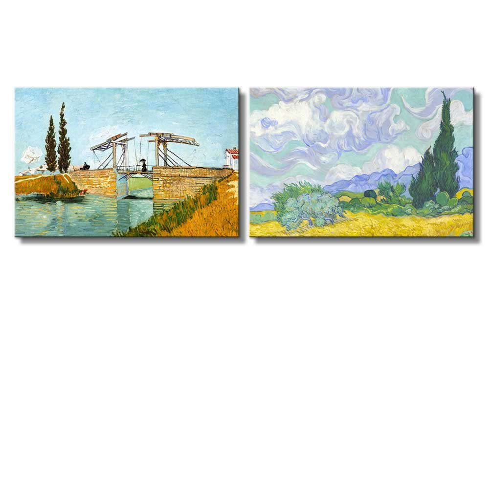 Bridge at Arles Wheat Field with Cypresses by Vincent Van Gogh - Oil Painting Reproduction Wall Art Ready to hang