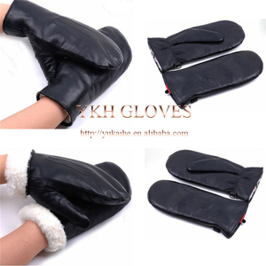 Rabbit Fur lined Mens Leather mittens With Elastic Cuff