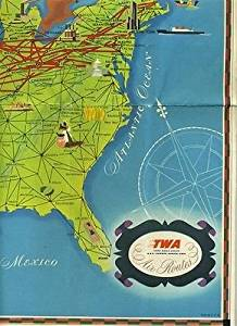 TWA Trans World Airlines Air Routes Map United States Europe Africa & India 1948