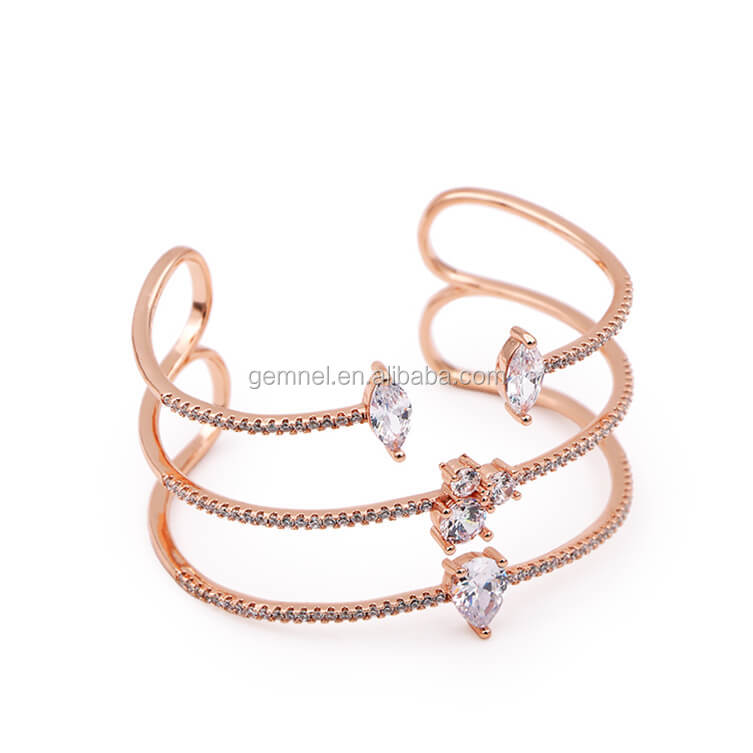 Gemnel fashion Jewelry Zircon rose gold bracelets and bangles