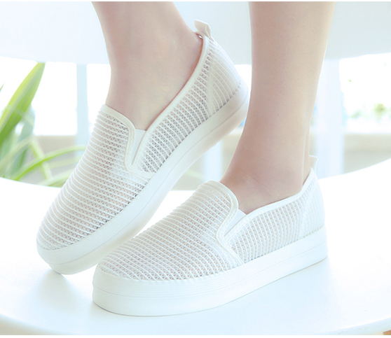 5f5e17cccde Get Quotations · 2015 Fashion Women Shoes White Mesh Canvas Sneakers Cut  Out Shoes Zapatos Mujer Breathable Thick Heel