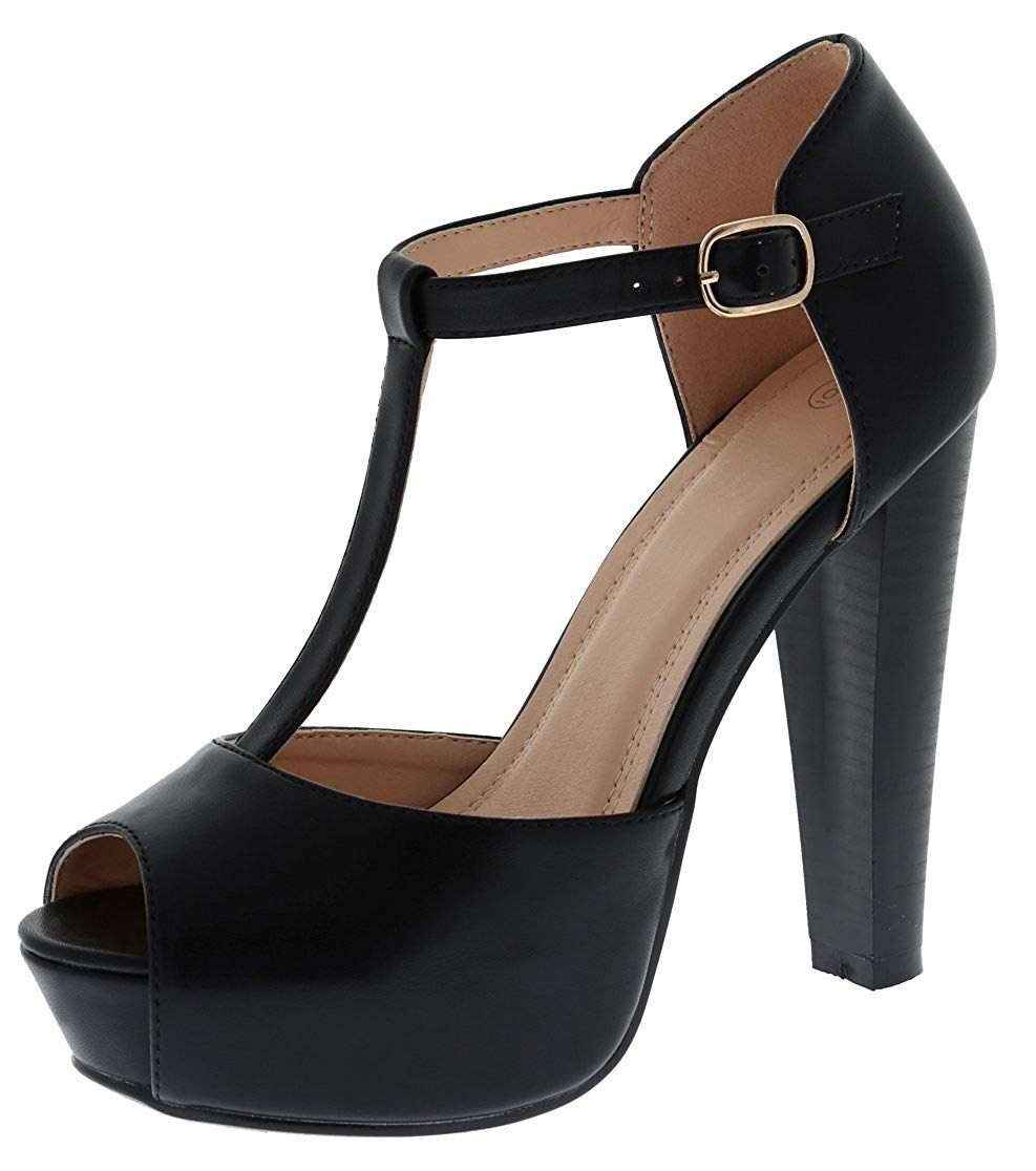 0647216dc9a Get Quotations · Cambridge Select Women s Peep Toe T-Strap Buckled Ankle Chunky  Platform Stacked High Heel Sandal