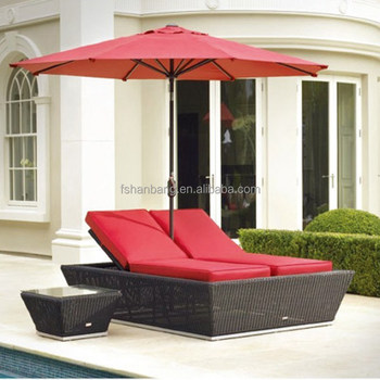 Wicker Double Chaise Lounge Awning Outdoor Patio Furniture Sun Bed Set With Umbrella