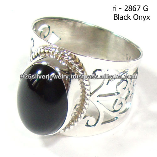 Cabochon gemstone ring settings 925 silver