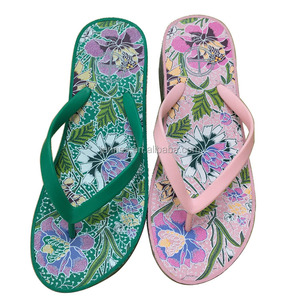 Ladies fashionable casual comfortable colorful printed summer shoes EVA wedges sandals, flip flops