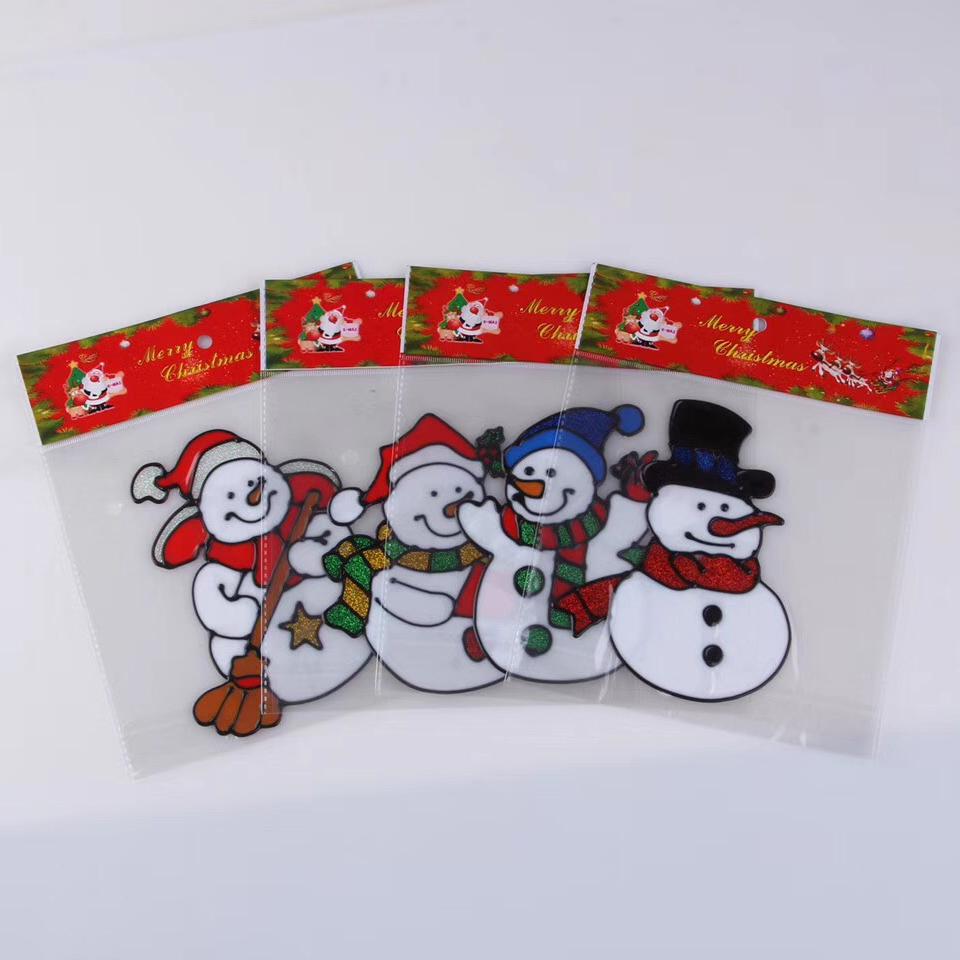 Wholesale christmas gift snowman jelly gel sticker window sticker glass sticker