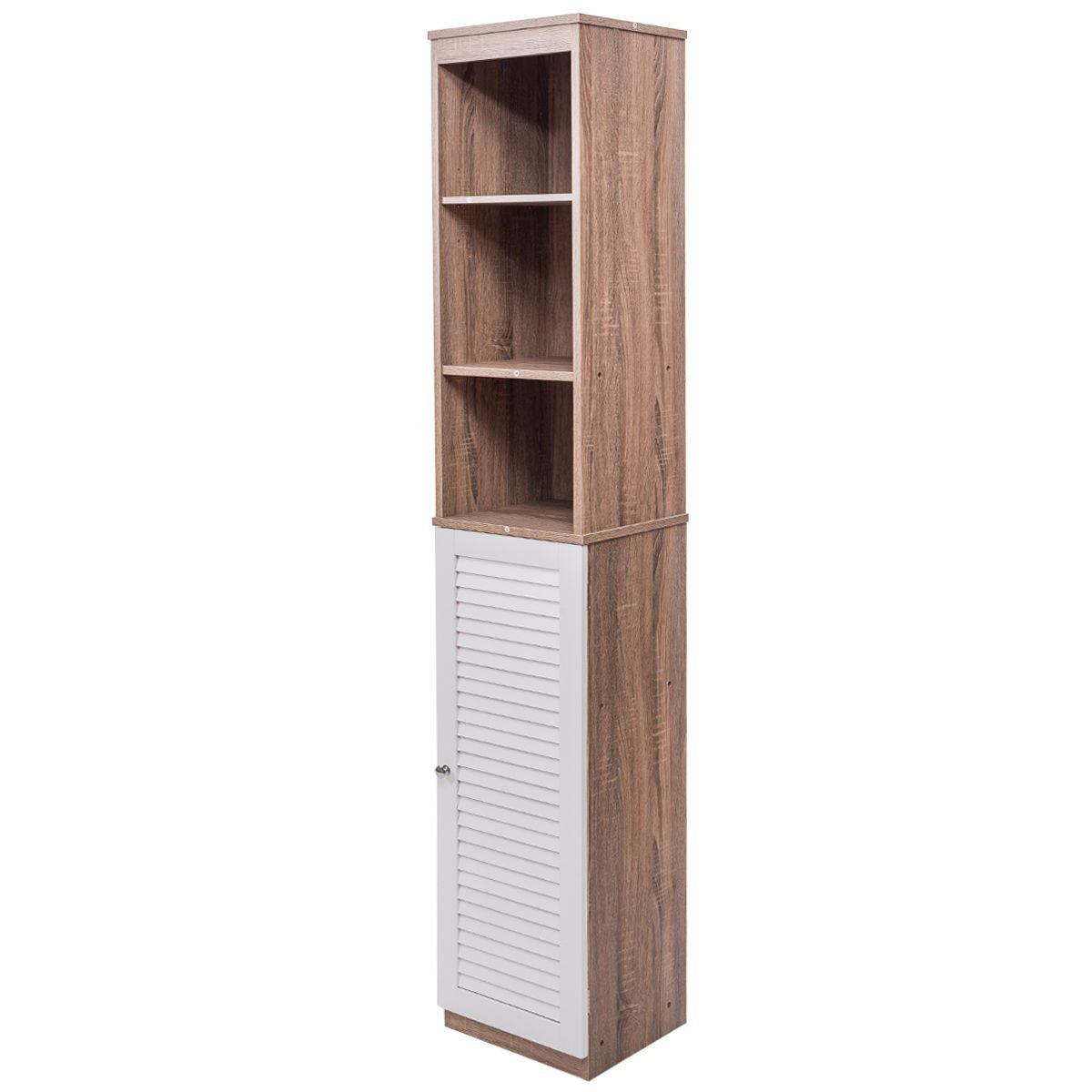 "71"" Tall Wood Tower Bathroom Bedroom Shelf Organizer Storage Cabinet Louvered"