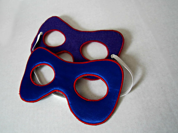 Superhero mask: premium embroidered felt super hero mask with adjustable elastic for toddlers through adults; reversible