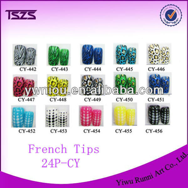 24PCS pre-designed false colored fake artificial princess nail tips