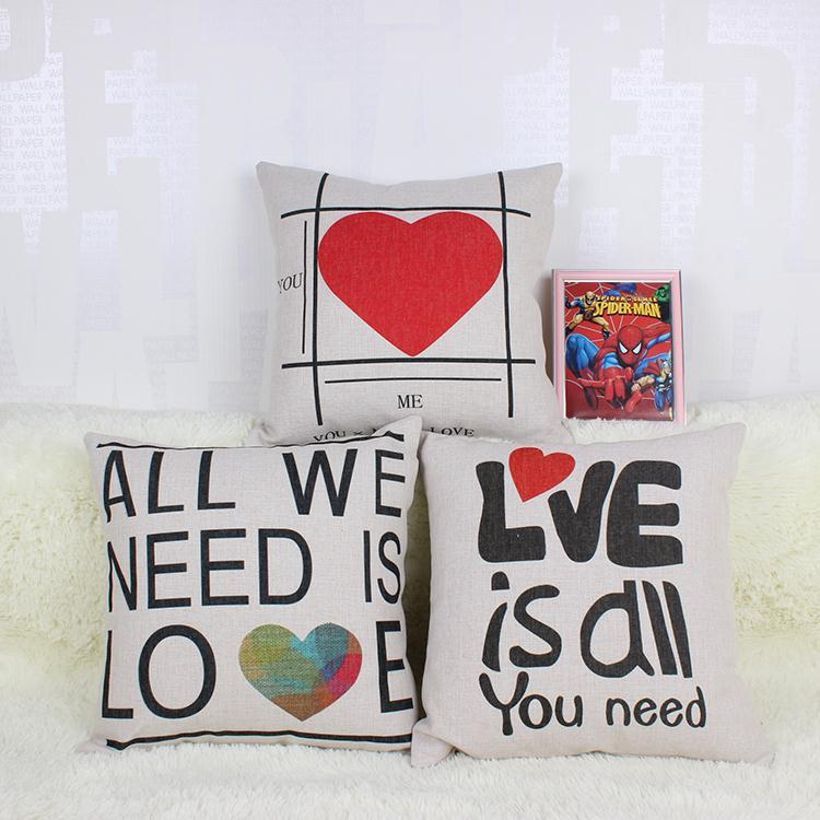 Hot Sale Thick and Thin Cotton Linen Decor Pillow New Home Fashion Gift 45cm Love is all you need Retro type Office Sofa Cushion