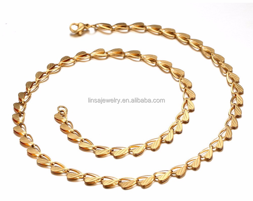 Fashion Stainless Steel Necklace Chain Heart gold color plated plating men Women neck chain LTC097