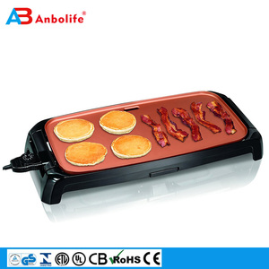 copper titanium ceramic coating electric non-stick griddle waffle maker with heat tempered glass lid
