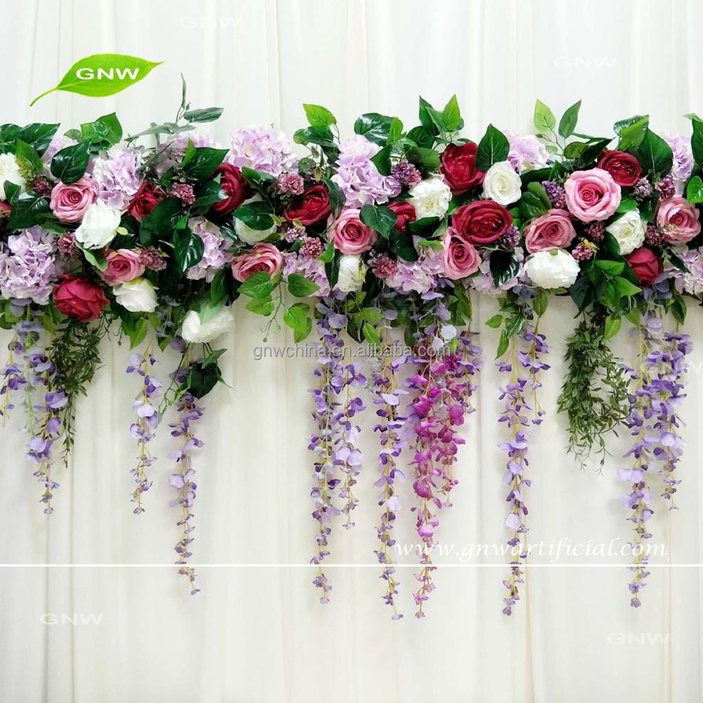 Gnw Silk Hanging Flower Runner Wedding Backdrop Greenery Garland