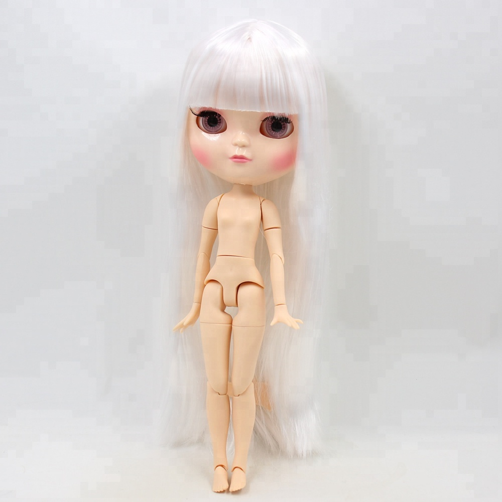 Dolls Factory Blyth Doll Nude Doll Gray Silver Long Wavy Hair With Bangs Joint Body Big Breast With Nipples Suitable For Diy Always Buy Good