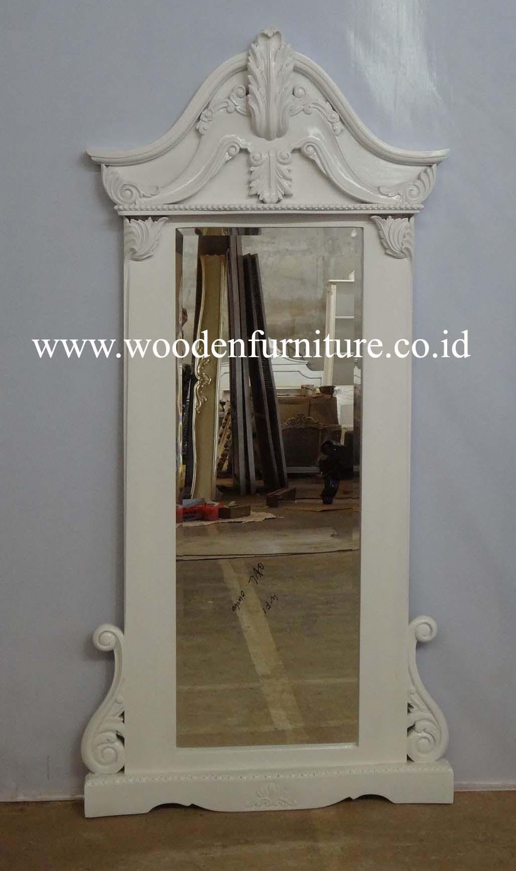 Antiguos reproducción marco estilo francés espejo blanco pintado ...