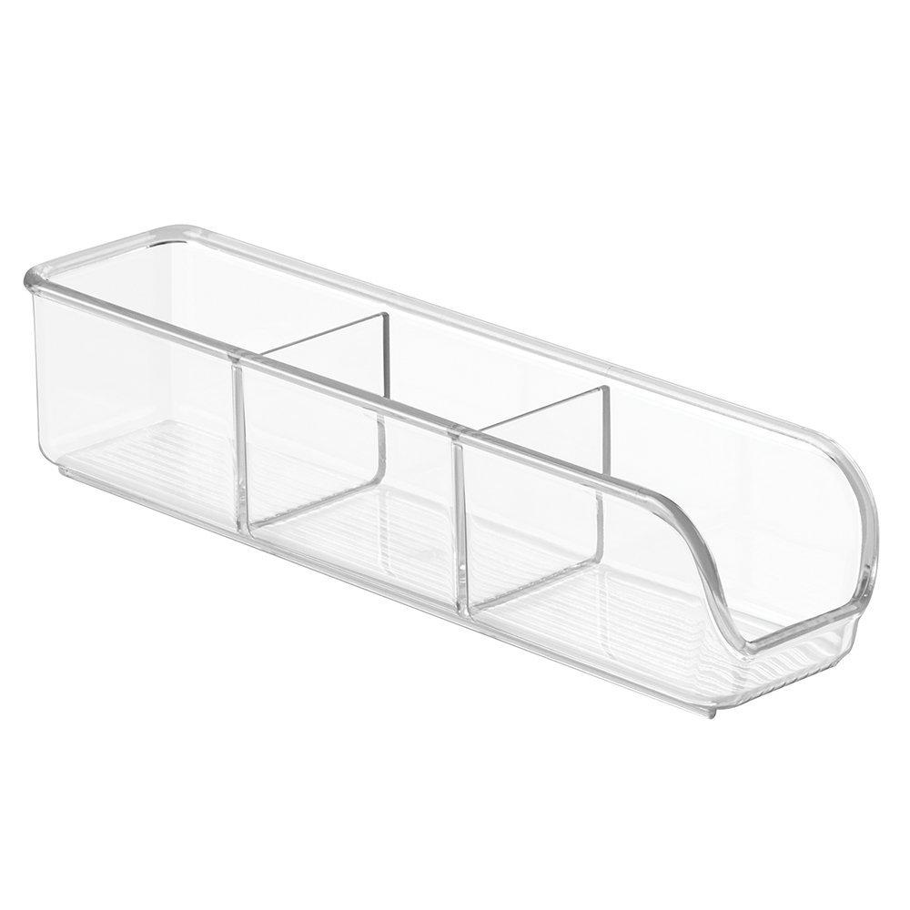 InterDesign Linus Sugar and Sweetener Packet Holder – Kitchen Storage Organizer for Sugar, Salt, Sweeteners, Tea Bags, Clear