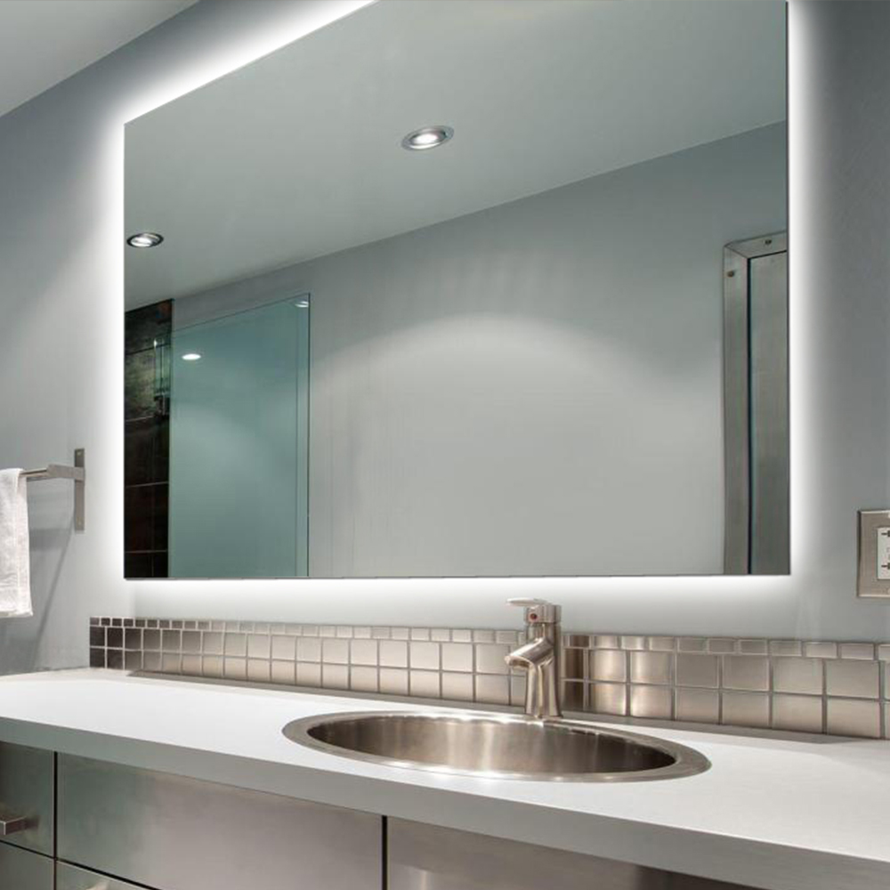 IP44 rated frameless bath led lighted mirror rectangle bathroom mirror with led lights