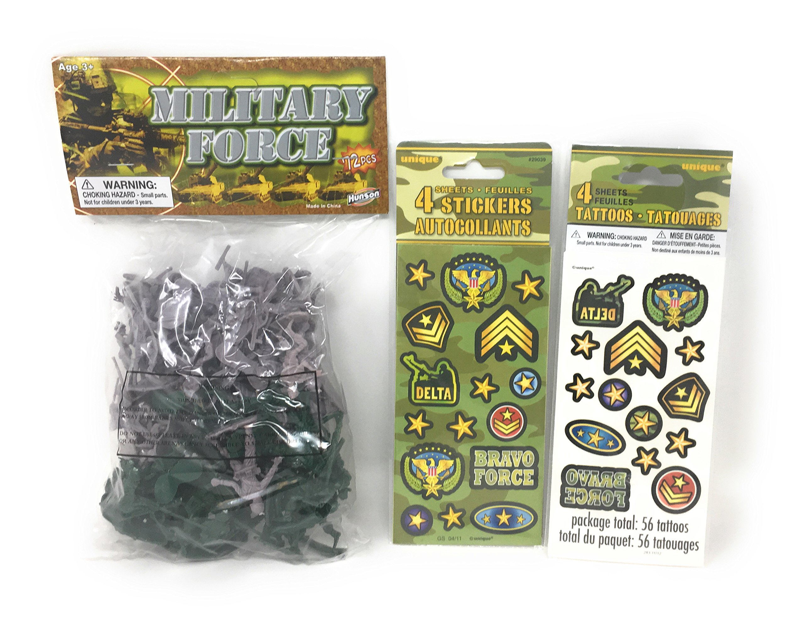 Army Toy Soldiers Plastic Army Men Military Action Figures Bundle: 72 Figures 4 Sheets Stickers 4 Sheets Tattoos