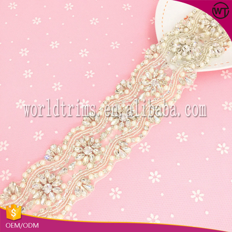 wholesale rhinestone pearl embellishment chain trims for wedding dress