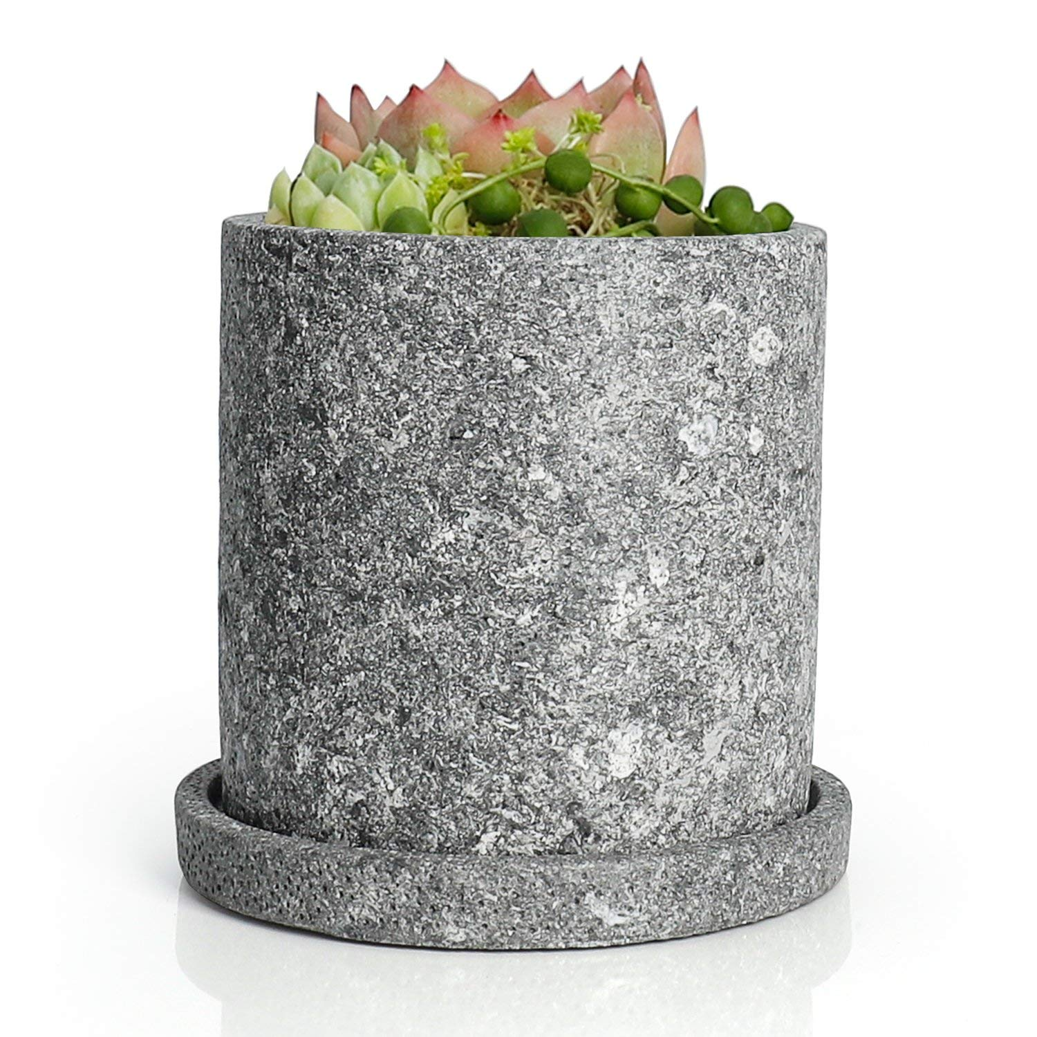 Greenaholics Succulent Plant Pots - 5.1 Inch Cement Cylinder Depth Planter with Drainage Hole and Tray, Gray