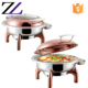 Arabic restaurant equipment round rose gold Hydraulic electrical glass lid 6l food warmer chafing dish buffet chafer