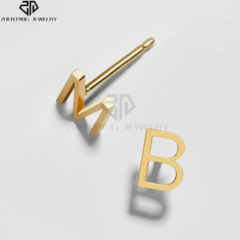 Gold Stainless Steel Letter Stud Earrings Personalized Alphabet Stud Earrings Buy Personalized Alphabet Stud Earrings Stainless Steel Initial Stud