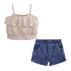 Girls Clothing Sets 2019 Summer Kids Clothes Tank Top + Jeans Shorts Children Clothes Set Outfits