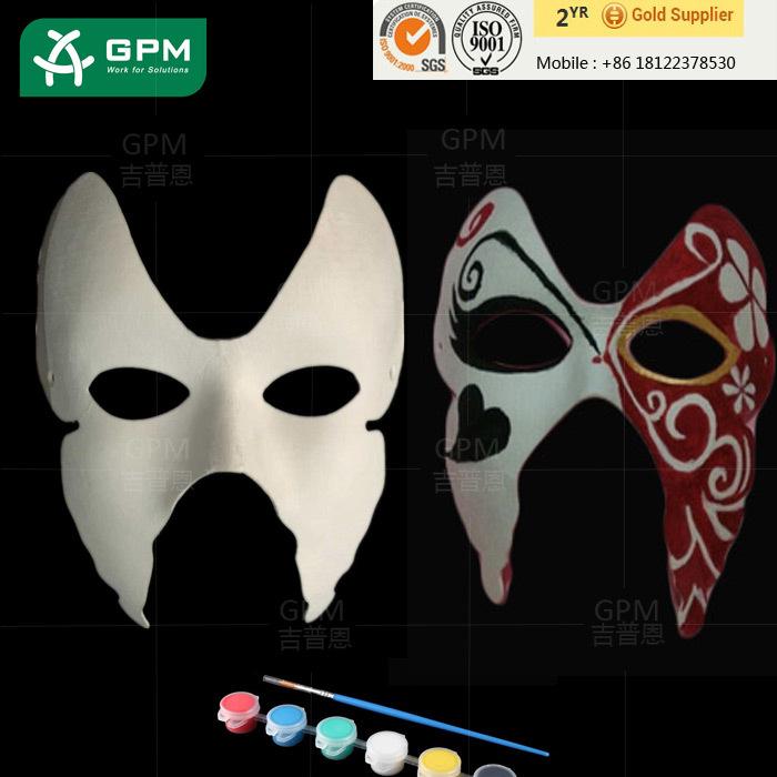 Ucuz Komik Beyaz Yarim Yuz Kagit Maske Boyama Icin Okul Buy