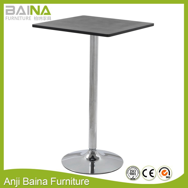 Wooden mini square bar tea cafe table furniture with chrome base design