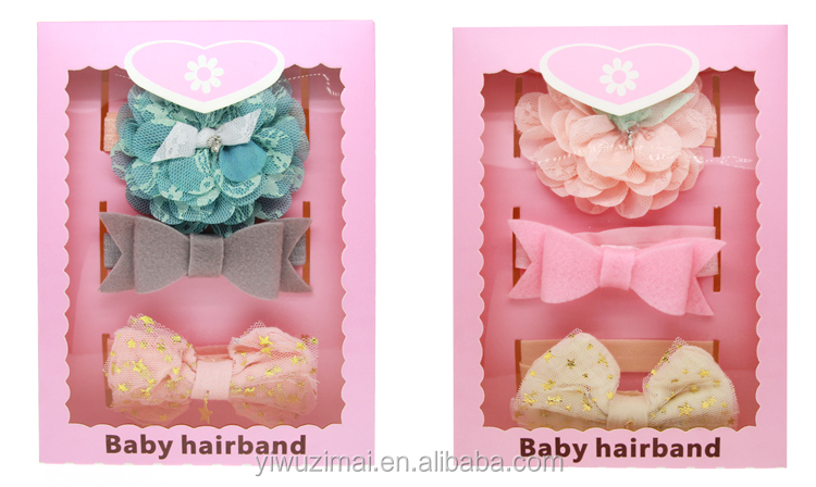 China Supplier Kids Girls Korean Style Cotton Headband Gift Box Packing Baby Girls <strong>Hair</strong> <strong>Accessories</strong>