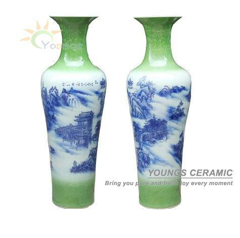 h medidor chino azul blanco cermica alto piso jarrones decorativos pintados a mano paisaje