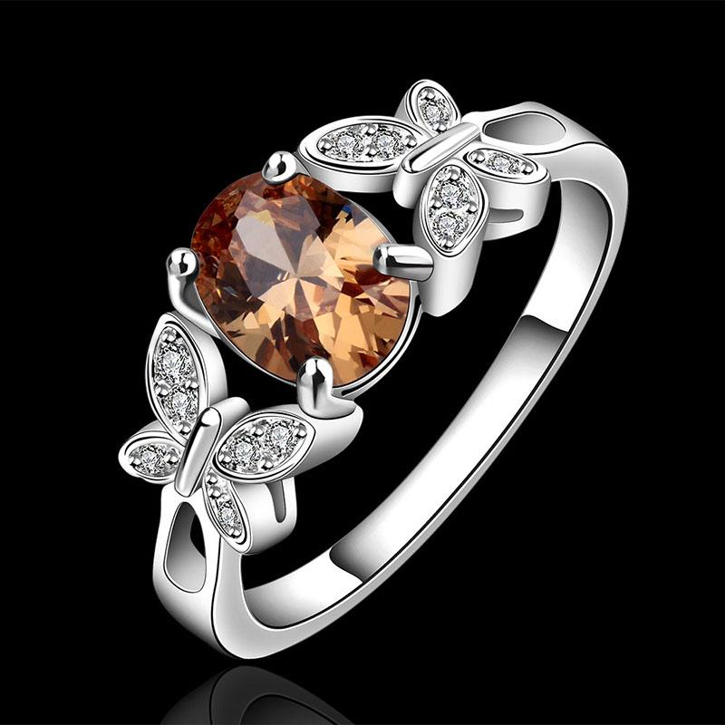 Femmes Papillon Plaqué Argent Zircon Romantique Bagues Luxe Fine Jewelry