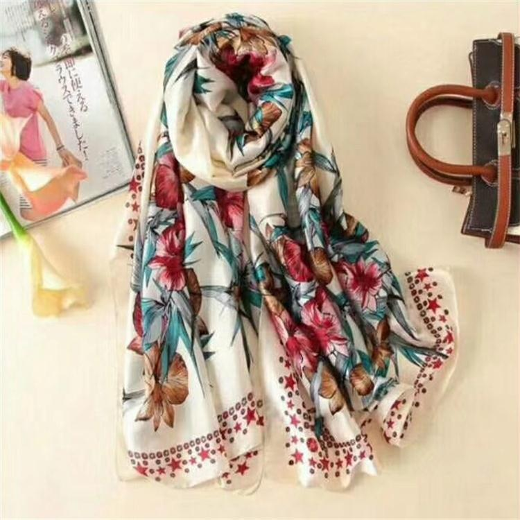 Women fashion satin shawl painting printed chinese silk scarf
