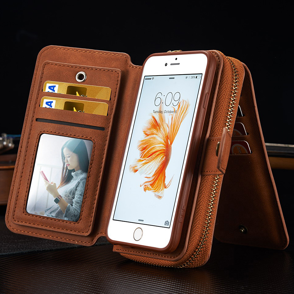 high value genuine leather multifunctional mirror case for iphone 5 6 6s , case for iphone 6