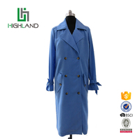 Fashion slim long ladies coat double breasted women trench coat