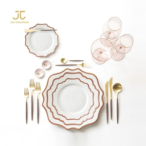 Wedding Porcelain Dinnerware Set Royal Plate Sets Dinnerware Ceramic Rose Gold Plates Sets