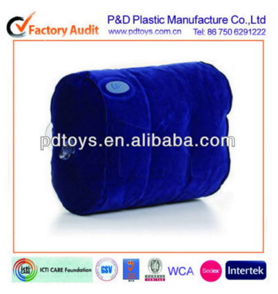 inflatable blue PVC pillow, travel pillow, inflatable toy