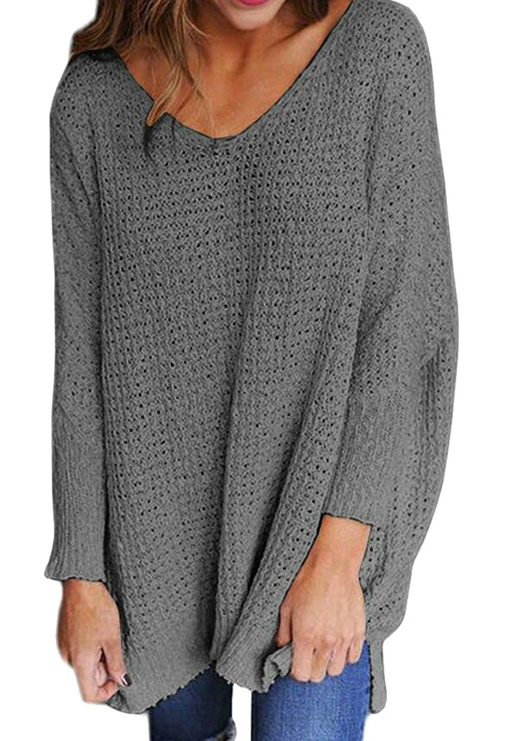 Alion Womens Classic Casual Fashion Long Sleeve Round Neck Knit Pullover Sweater